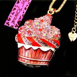 Betsey Johnson Pink Cupcake sweater Necklace